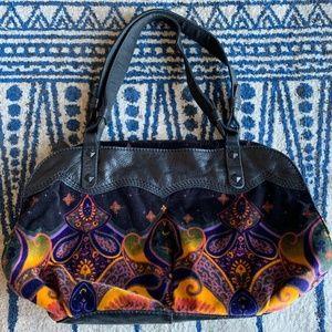 Lucky Brand Black w/colors Velvet Bohemian Bag